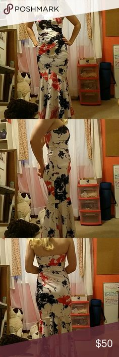 Prom dress Floor length, mermaid style, white with black and pink pattern, some raised black lace, strapless Dresses Strapless