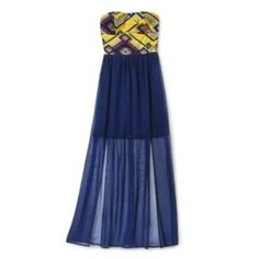 Yellow And Blue Statement Maxi Dress