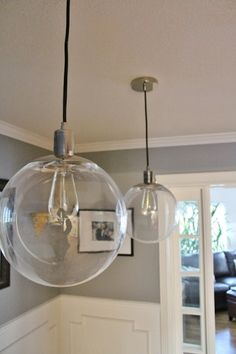 West Elm Globe Lights With Vintage Edison Light Bulbs
