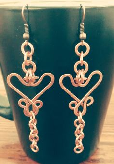 Hand-hammered copper earring intricate heart by Jonquiljunction
