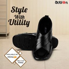 6138d6bdbe29 Buy Action Black Sandals Online - 4730974 - Jabong. Leather SlippersLeather  MenBlack SandalsBeautyStuff To BuyShoppingShoesFashionBlack ...