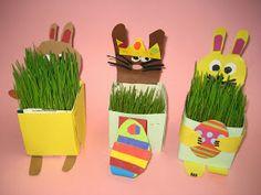 Kuvis ja askartelu: Pääsiäisruohot maitopurkeissa Easy Easter Crafts, Easter Art, Crafts For Kids, Arts And Crafts, Spring Crafts, Art School, Origami, Recycling, Artwork