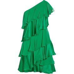 Halston Heritage Tiered silk-chiffon and satin dress ($213) ❤ liked on Polyvore