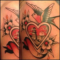heart, swallow, lighthouse - Full, color with different or no bird and rose of sharon