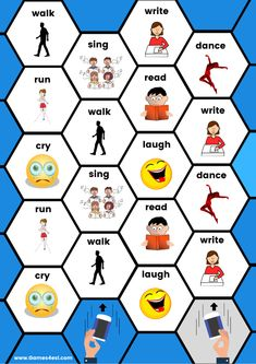 A printable board game to teach English action verbs to kids and beginner ESL students.