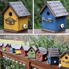 Unique Bird Feeders, Wooden Bird Feeders, Hanging Bird Feeders, Barn Tin, Bluebird House, Living Roofs, Bird Houses Painted, Irish Cottage, Glass Knobs