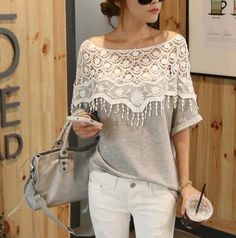 Blusa Free Shipping New 2014 Spring Camisetas Mujer Lace Cutout Shirt Women's Crochet Cape Collar Batwing Sleeve Lace Blouses T $14.95