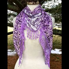 "Selling this ""Scarf Sarong purple floral lace fringed triangle"" in my Poshmark closet! My username is: richbororiches. #shopmycloset #poshmark #fashion #shopping #style #forsale #Boutique #Accessories"