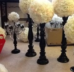 Candelabra & Tall Flower Ball Centerpieces--I can't even begin to tell you how much I love these! I mean please brides, give carnations a chance!!! Very classy & elegant!!!