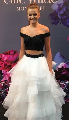 two piece prom dress, 2018 long prom dress graduation dress, black and white prom dress, off the shoulder two piece long prom dress