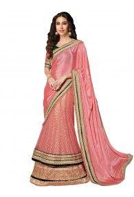 Shonaya Pink Color Net & Chiffon Embroidery Lehenga Saree With Unstitched Blouse Piece