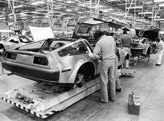 Circa 1981, Delorean DMC-12 production line, Delorean Motor Company, Dunmurray, Northern Ireland () #BackToTheFuture