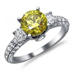 Amazon.com: 2.50ct Canary Yellow Round Diamond 3 Stone Engagement Ring 18k White Gold: Jewelry