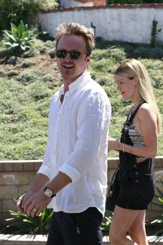 Aaron Paul was all smiles as he headed out and about with his wife Lauren in Los Angeles, Calif., on Sept. 24, 2013