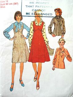Vintage 1970s Simplicity Pinafore Dress Pussy Bow Blouse Sewing Pattern B 36