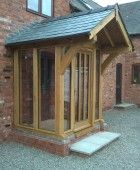 Wye Oak Timber Framing Ltd, Hereford Front Door Canopy, Front Door Porch, Porch Doors, Front Porch Design, Front Porches, Porch Canopy, Porch Uk, Cottage Porch, House With Porch