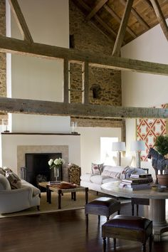 Beautiful Rustic Modern Country Great Room!!! Stone Barn Conversion | Design by Joan Craig | Chicago, IL...  I like the fire place and the style of old and new