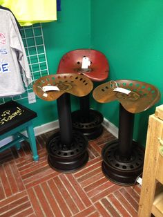 Repurposed Barstools made from vintage tractor seats available at Ya Ya's @ Bay-Tique, Bay St Louis, $150 each.