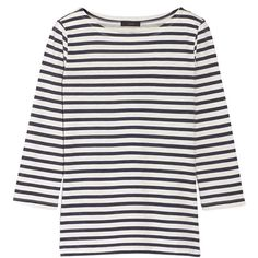 J.Crew Breton striped cotton top ($40) ❤ liked on Polyvore featuring tops, loose tops, stripe top, j.crew, j crew top and loose fitting tops