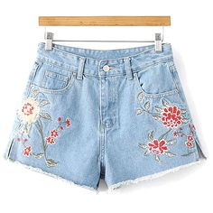 Side Slit Floral Embroidery Denim Shorts ($99) ❤ liked on Polyvore featuring shorts, denim short shorts, jean shorts, short jean shorts and denim shorts