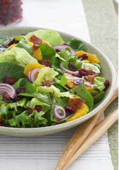 Citrus Salad with Bacon & Red Onion – Bacon in a better-for-you salad that features dried cranberries and fresh orange slices? Eating smart just got a little tastier.