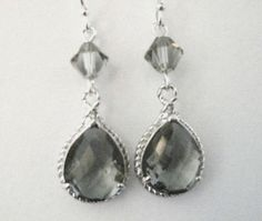 Bridesmaid Jewelry Gray Teardrop Earrings by AnnsCrafts on Etsy, $20.00