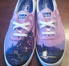 Toms Shoes OFF!> Disney Tangled hand painted TOMS shoes by FritzPaintingCo on Etsy Disney Painted Shoes, Painted Canvas Shoes, Painted Clothes, Disney Shoes, Hand Painted Shoes, Disney Outfits, Painted Toms, Toms Sneakers, Keds Shoes