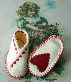 Felt Valentine Baby Booties Red and White Hearts by HeartFelt4Kids, $18.00...my niece is scheduled to make her grand entrance on valentine's day. Perfect!