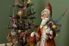 Victorian Wire Wrapped Ornaments with Clockwork Nodder Santa