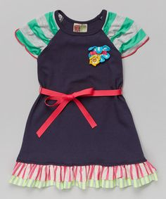 Navy & Rose Ribbon Tie Flower Dress - Toddler & Girls on #zulily! #zulilyfinds