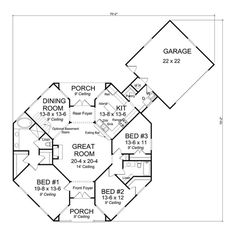 Traditional Plan: 1,793 Square Feet, 3 Bedrooms, 2 Bathrooms - 4848-00032 Round House Plans, Best House Plans, Small House Plans, House Floor Plans, Hexagon House, Plans Architecture, Tropical Architecture, Architecture Today, Silo House