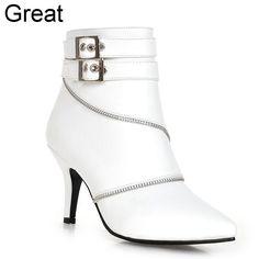 2016 novo chegada mais tamanho grande 32 - 43 preto de fivela Zip Sexy primavera tornozelo mulheres botas de salto alto outono X1355 alishoppbrasil