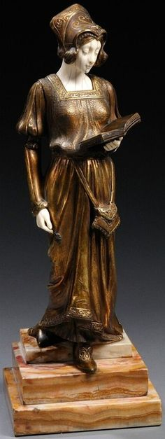- Art Nouveau Bronze and Ivory Figure of a Medieval Woman Descending a Staircase. Bronze Sculpture, Sculpture Art, Art Nouveau, Art Deco Period, Les Oeuvres, Glass Art, Medieval, Statues, Woodcarving
