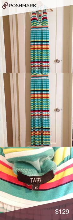 "Tart Striped Maxi Dress NWOT Tart Collections striped maxi dress. Fun summer colorful striped dress! XS (I am a size small but would be able to wear it). Deep V on front and back. 47.5"" length. 95% model cotton 5% spandex. Tart Dresses Maxi"
