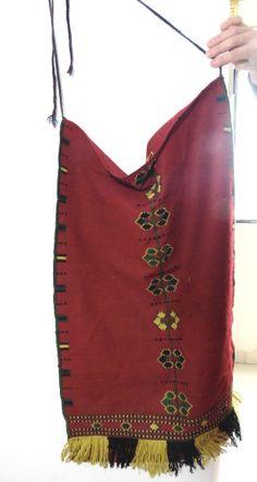 ANTIQUE ETHNIC GREEK MACEDONIAN FOLK ART COSTUME LADIES WOVEN WOOL APRON