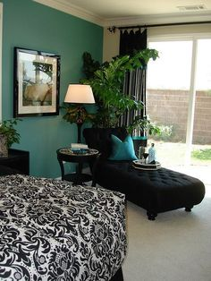 Turquoise, black, and white bedroom.. I love this.. my bedroom is black and white.. BUT now..i wanna paint.. lol