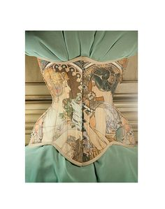 Gorgeous Alfons Mucha Corset, Floral, Feathers, Primrose azalea underbust corset by RetroFolie, retro, vintage look.
