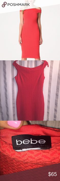 Bebe off the shoulder red midi dress size small Small midi Bebe dress. Excellent condition. Sold out in stores.  trades. Price is final. bebe Dresses Midi
