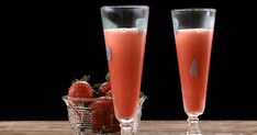 Découvrez cette recette de Limonade de fraise pour 4 personnes, vous adorerez! Pint Glass, Tableware, Drink, Frozen Strawberries, Juice, Drinks, Quick Recipes, Yummy Recipes, Dinnerware