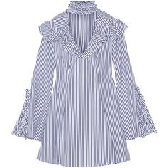 Caroline Constas Micki ruffled striped cotton Oxford mini dress (805 AUD) ❤ liked on Polyvore featuring dresses, vestidos, blue, blue fit-and-flare dresses, short fit and flare dress, stripe dresses, blue fit and flare dress and blue dress