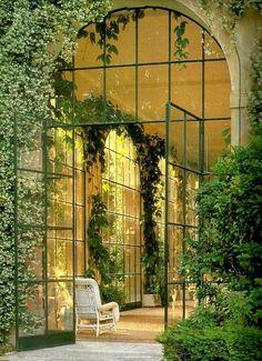 Glazen serre deuren