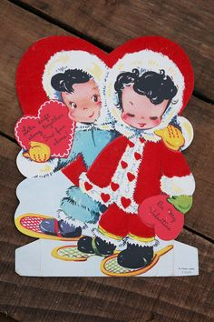 This is a 1950s Vintage Valentine in good used condition. It has adorable little Eskimos on the front. It appears that it has never been