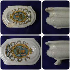 Restoration of ancient saltcellar , italian majolica, Faenza 1665 #ceramica #restauro #antiquariato #maiolica