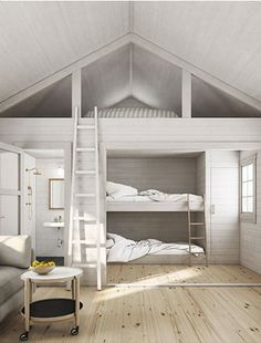 Tiny House Cabin, Tiny House Living, Tiny House Plans, Brick House Designs, Cool House Designs, Mezzanine Bedroom, Bedroom Loft, Style At Home, Bunk Beds Built In