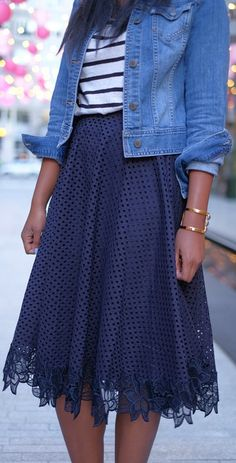 love this pretty lace skirt, denim jacket and the striped shirt -- such a fun spring outfit!