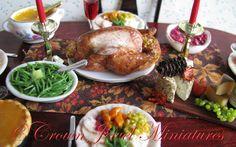 Thanksgiving & Christmas turkey dinner by IGMA Artisan Robin Brady-Boxwell  Fall & autumn dollhouse miniature green beans
