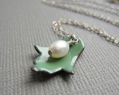 Green Enamel Hamsa Necklace White Pearl by Armillatadesigns, $36.00 #judaica #hamsa