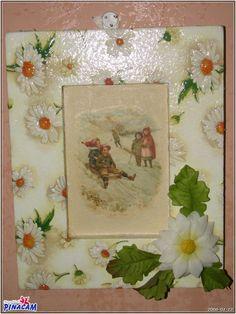 Marco decorado con pasta de porclana, #manualidades #pinacam #madera #cuadros. #lienzo  www.manualidadespinacam.com