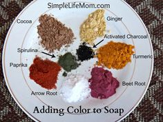 Adding Color to Homemade Soap - natural, healthy, and non-toxic alternatives for adding color to your beautiful soap creations: