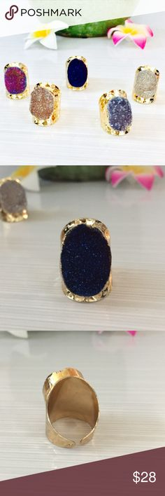 JUST IN  Genuine Druzy Gold Statement Ring Beautiful Genuine Druzy in 5 colors gold plate, adjustable, lightweight statement Rings.                        ‼️Unless Stated otherwise REASONABLE OFFERS ONLY I may counteroffer once and will not take less. ❤️For guarantee discount ...bundle                              I LOVE TRADING, but only for money Jewelry Rings